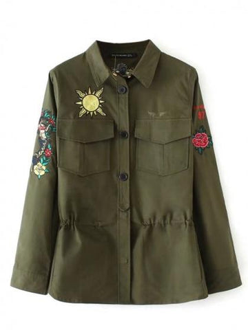 Army Green Embroidery Detail Pocket Long Sleeve Coat