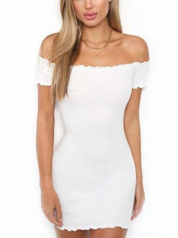White Off Shoulder Frill Trim Bodycon Mini Dress