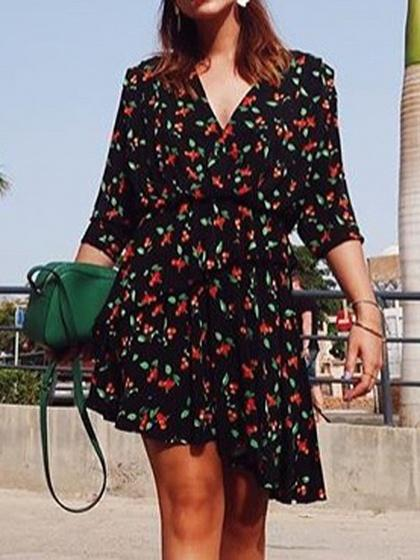 Black V-neck Cherry Print Asymmetric Hem Long Sleeve Dress
