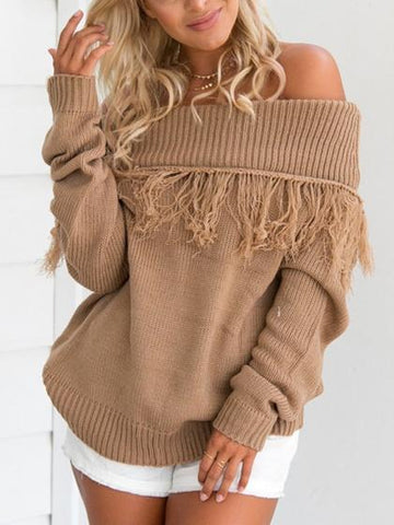 Camel Off Shoulder Tassel Knit Sweater