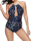 Bandage Splash Print One Piece Swimsuit