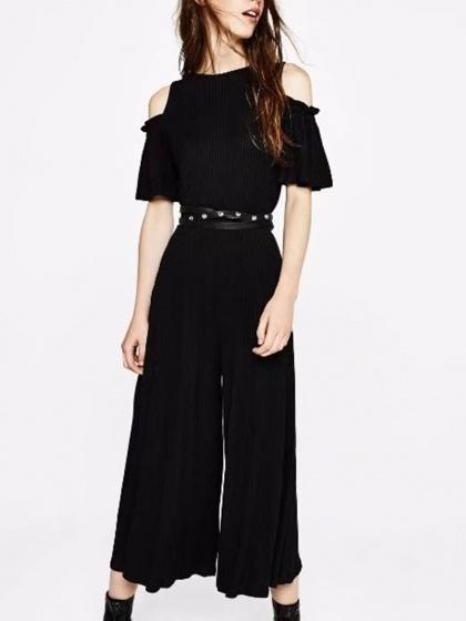 DaysCloth Black Cold Shoulder Ribbed Jumpsuit