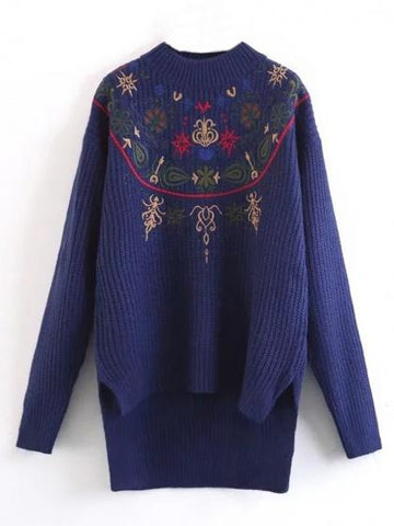 Blue Embroidery Detail Long Sleeve Dipped Hem Knit Sweather