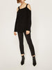 DaysCloth Black Square Neck Cold Shoulder Rip Detail Knit Sweater