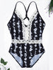 DaysCloth Black Lace Panel Floral Print Cross Strap Back Swimsuit