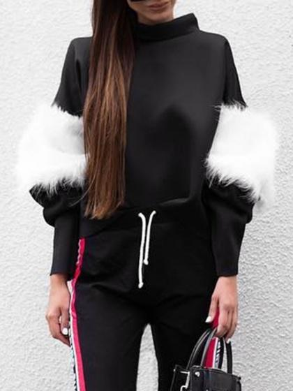 Black Faux Fur Detail Long Sleeve Sweatshirt