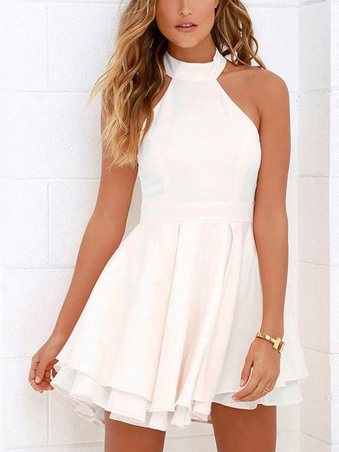 DaysCloth White Halter Cut Out Back Double Layer Pleated Skater Dress