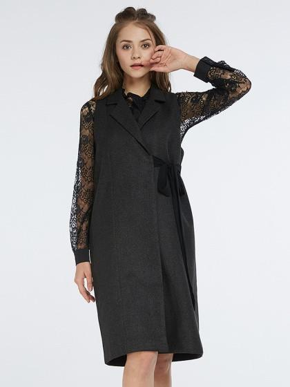 DaysCloth Black Lapel Tie Side Longline Sleeveless Coat