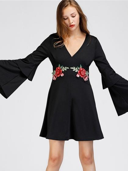 Black V-neck Embroidery Patch Floral Flared Sleeve Mini Dress