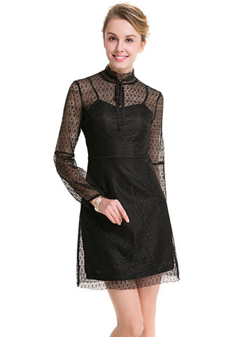 DaysCloth Black Stand Collar Long Sleeve Sheer Lace Mini Dress
