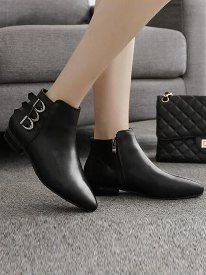DaysCloth Black Leather Look Buckle Strap Pointed Ankle Boots