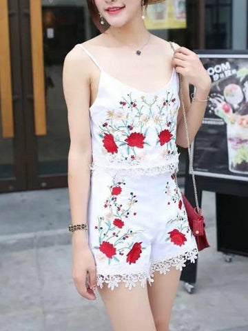 White V-neck Embroidery Floral Strap Lace Trim Crop Top And Shorts