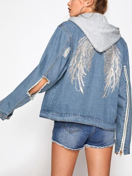Blue Lightwash Embroidery Wing Back Ripped Hooded Denim Jacket