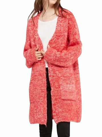 Hot Pink Pocket Open Front Mohair Blend Longline Cardigan