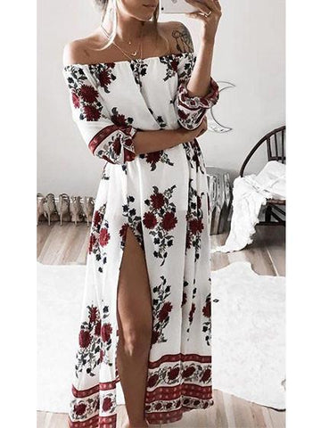 DaysCloth Fashion Bateau Off Shoulder Floral Print Dress