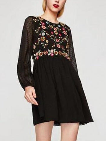 DaysCloth Black Embroidery Floral Sheer Sleeve Babydoll Mini Dress