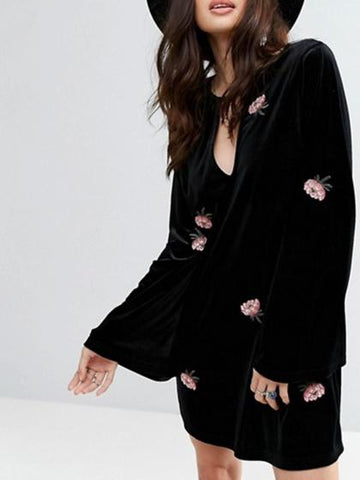 DaysCloth Black Velvet Embroidery Detail Long Sleeve Mini Dress