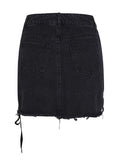 Black High Waist Lace Up Detail Raw Hem Denim Mini Skirt