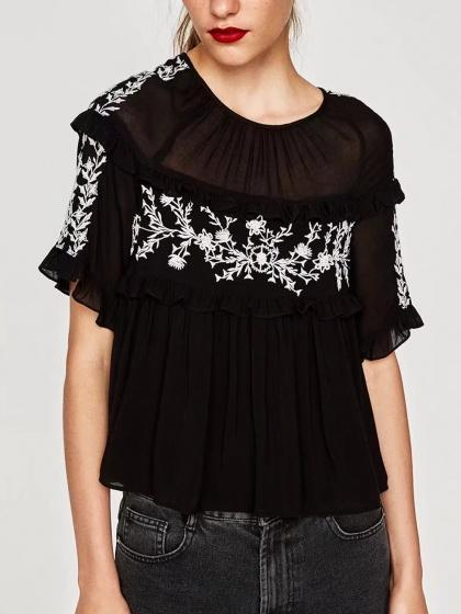 DaysCloth Black Sheer Panel Embroidery Detail Frill Trim Blouse