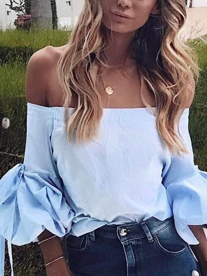 DaysCloth Blue Off Shoulder Tied Puff Sleeve Top
