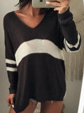 Black V-neck Contrast Detail Long Sleeve Knit Sweater