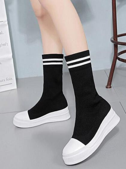 DaysCloth Black Contrast Stripe Stretch Knit Flatfrom Boots