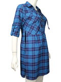 Blue Plaid Plunge Lace Up Front Long Sleeve Shirt Dress
