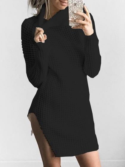 Black Turtle Neck Side Split Knitted Dress