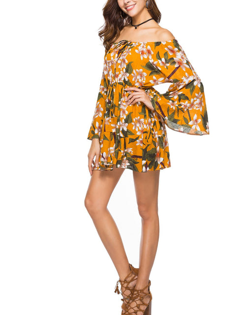 DaysCloth Yellow Off Shoulder Print Detail Long Sleeve Mini Dress