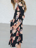 Black Floral Print 3/4 Sleeve Midi Dress