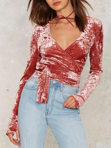 Pink V Neck Wrap Tie Waist Crushed Velvet Long Sleeve Top