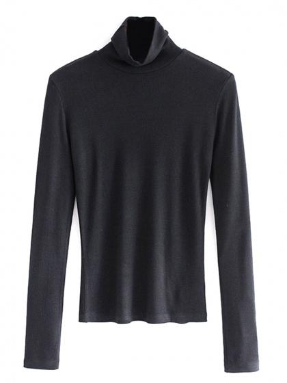 DaysCloth Black High Neck Long Sleeve Ribbed T-shirt