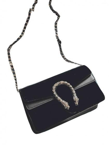 DaysCloth Black Velvet Cross Body Chain Shoulder Bag
