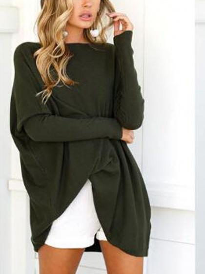Army Green Boat Neck Fitted Sleeve Oversized T-shirt