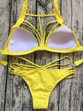 HOT BEACH Sexy Yellow Bikini Set