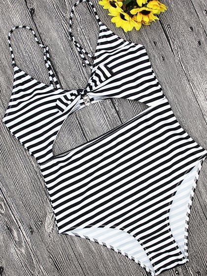 DaysCloth Beach Dream Tie Striped One piece Swimsuit