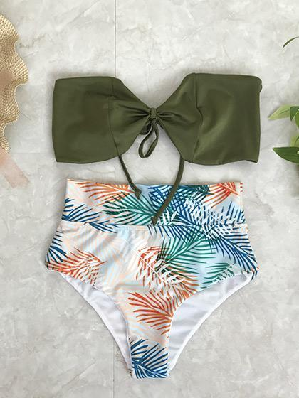 Ocean Of Love Tropical plants Tie Bikini Set
