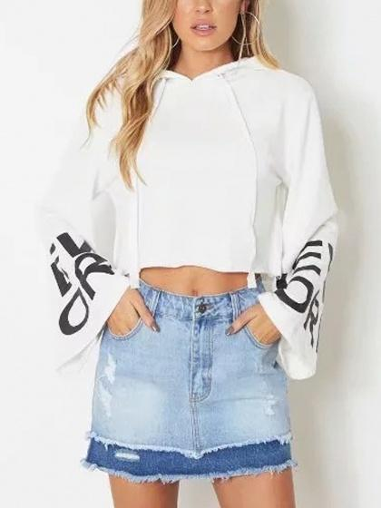 DaysCloth White Letter Print Long Sleeve Cropped Hoodie