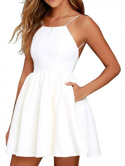 DaysCloth White Spaghetti Strap Backless Skater A Line Party Mini Dress