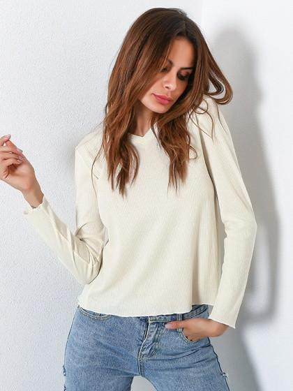 DaysCloth White V-neck Open Back Long Sleeve Ribbed T-shirt