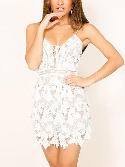 DaysCloth White Plunge Lace Up Cross BaCK Cami Romper Playsuit