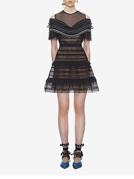 DaysCloth Black Cold Shoulder Sheer Mesh Panel Lace Mini Dress