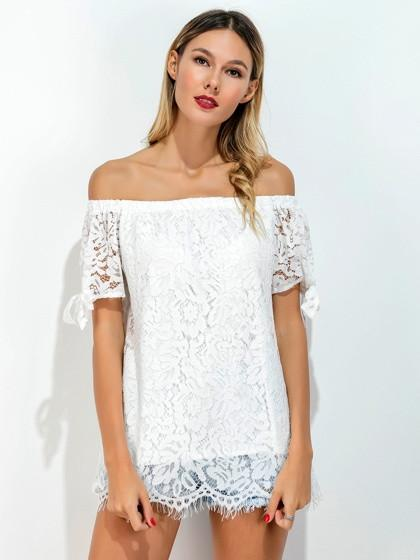 DaysCloth White Off Shoulder Bow Sleeve Lace Blouse