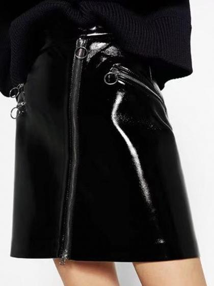 DaysCloth Black High Waist Zipper Detail Leather Look Mini Skirt