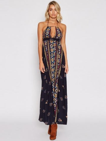 Black Halter Plunge Print Detail Open Back Maxi Dress