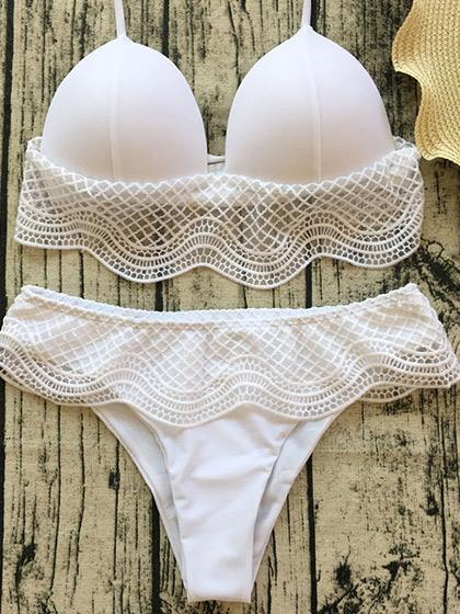 DaysCloth Pull Me Closer Lace Solid Color Bikini Set