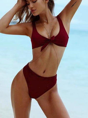 DaysCloth Beach Dream Tie Solid Bikini Set