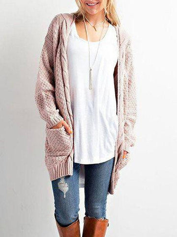 DaysCloth Fashion Open Collar Solid Color Cardigan