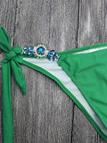 Cross Me Shine Jewelry Green Bikini Set