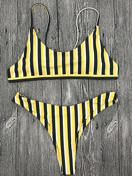 DaysCloth Poetry In Ocean Yellow & Black Striped Bikini Set